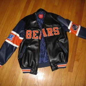 Chicago Bears Faux Leather Coat 1X Great Condition